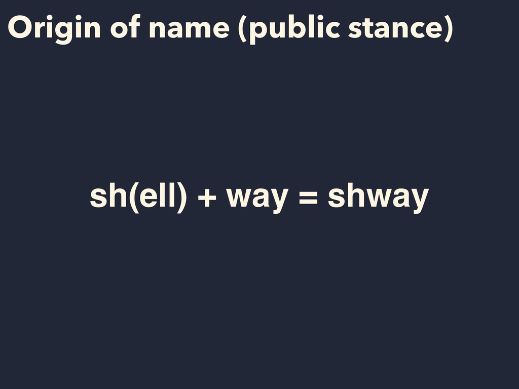Origin of name (public stance) sh(ell) + way = ...