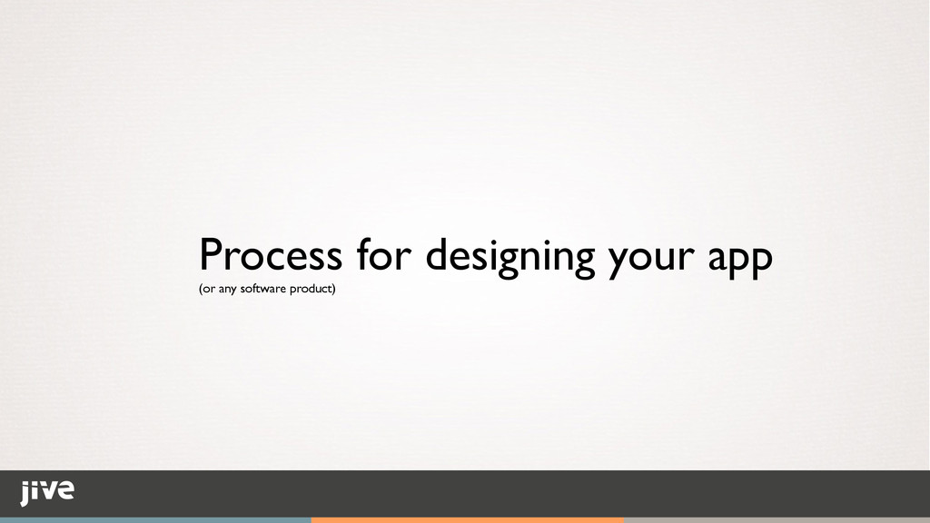 Process for designing your app	 