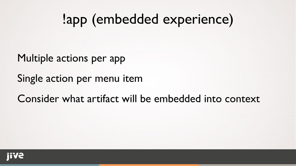 !app (embedded experience) Multiple actions per...