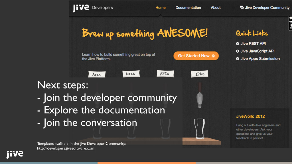 Next steps:	 