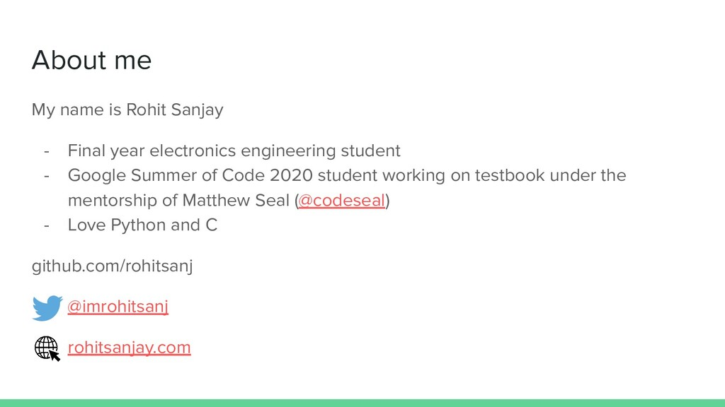 About me My name is Rohit Sanjay - Final year e...