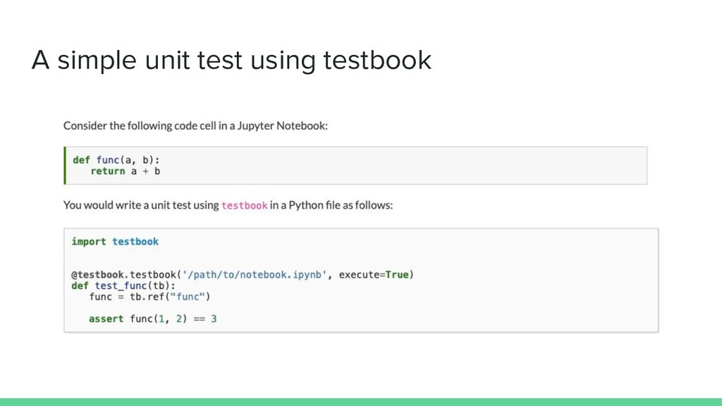 A simple unit test using testbook