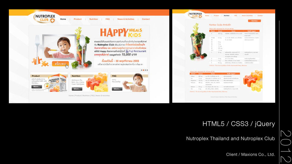 HTML5 / CSS3 / jQuery Nutroplex Thailand and Nu...