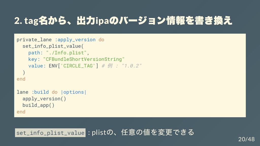 2. tag 名から、出⼒ ipa のバージョン情報を書き換え private_lane :a...