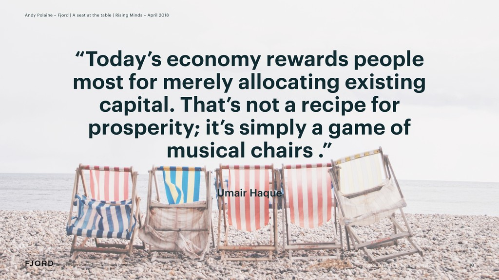 """Today's economy rewards people most for merely..."