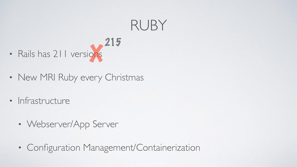 RUBY • Rails has 211 versions • New MRI Ruby ev...