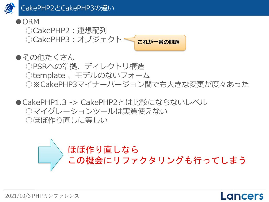 2021/10/3 PHPカンファレンス CakePHP2とCakePHP3の違い ●ORM ...