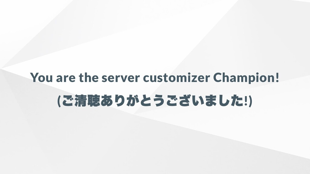 You are the server customizer Champion! ( ご清聴あり...