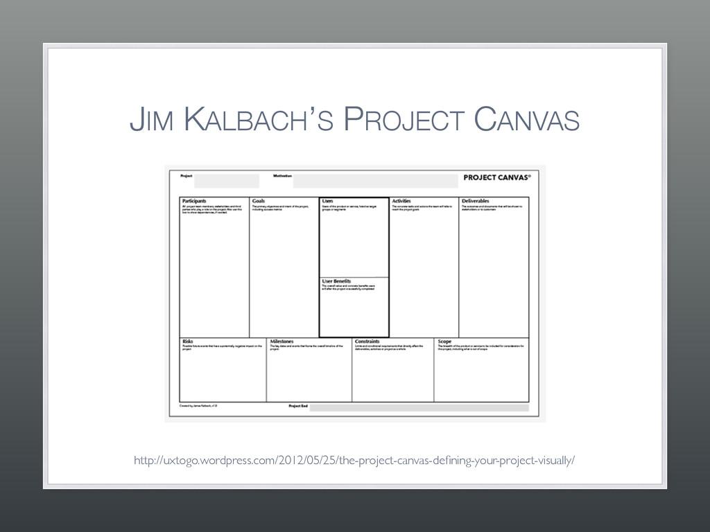 JIM KALBACH'S PROJECT CANVAS http://uxtogo.word...