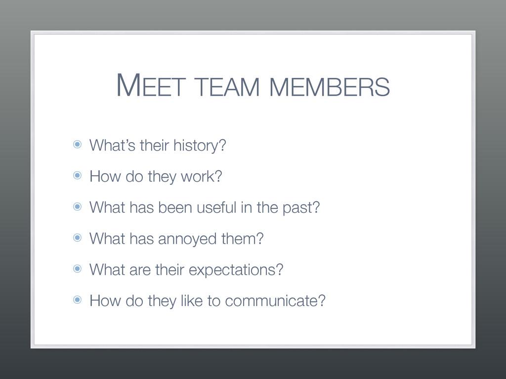 MEET TEAM MEMBERS ๏ What's their history? ๏ How...