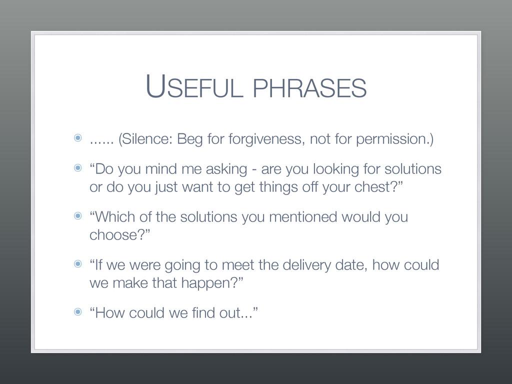 USEFUL PHRASES ๏ ...... (Silence: Beg for forgi...
