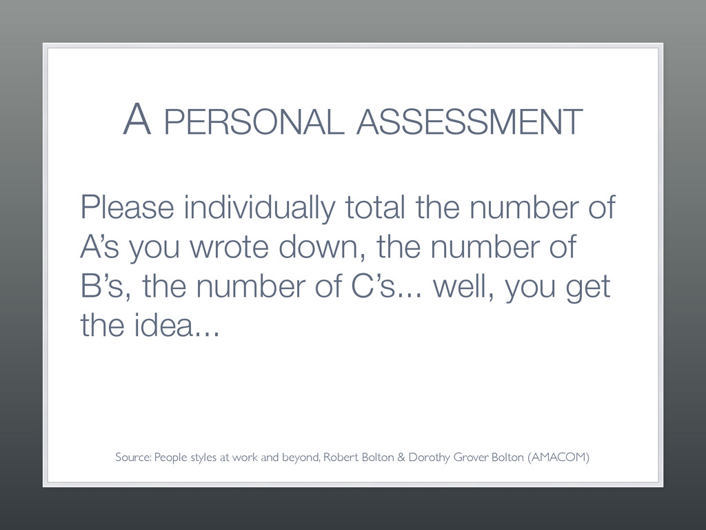 A PERSONAL ASSESSMENT Please individually total...