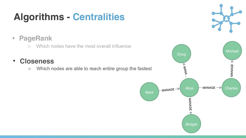 Algorithms - Centralities • PageRank ○ Which no...