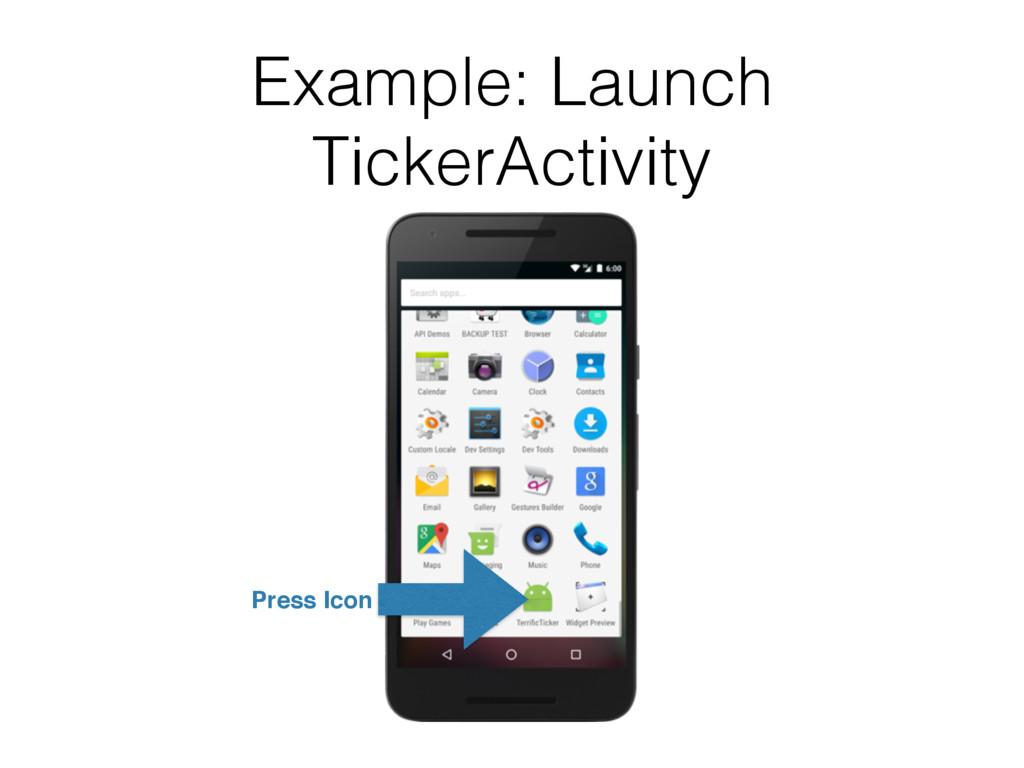 Example: Launch TickerActivity Press Icon