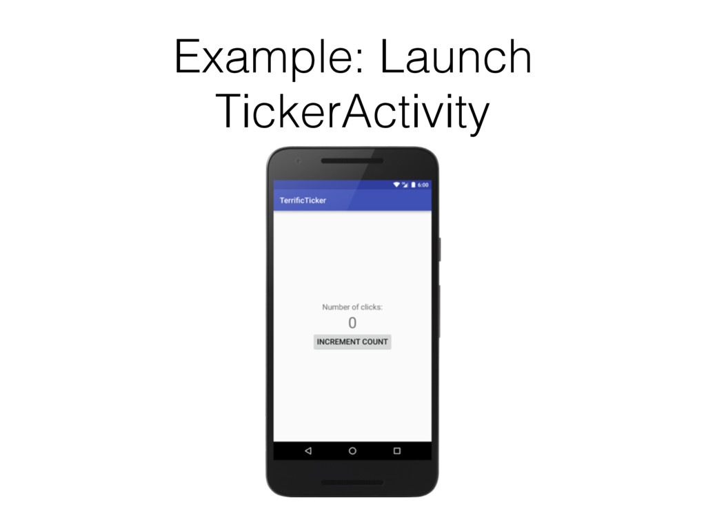 Example: Launch TickerActivity