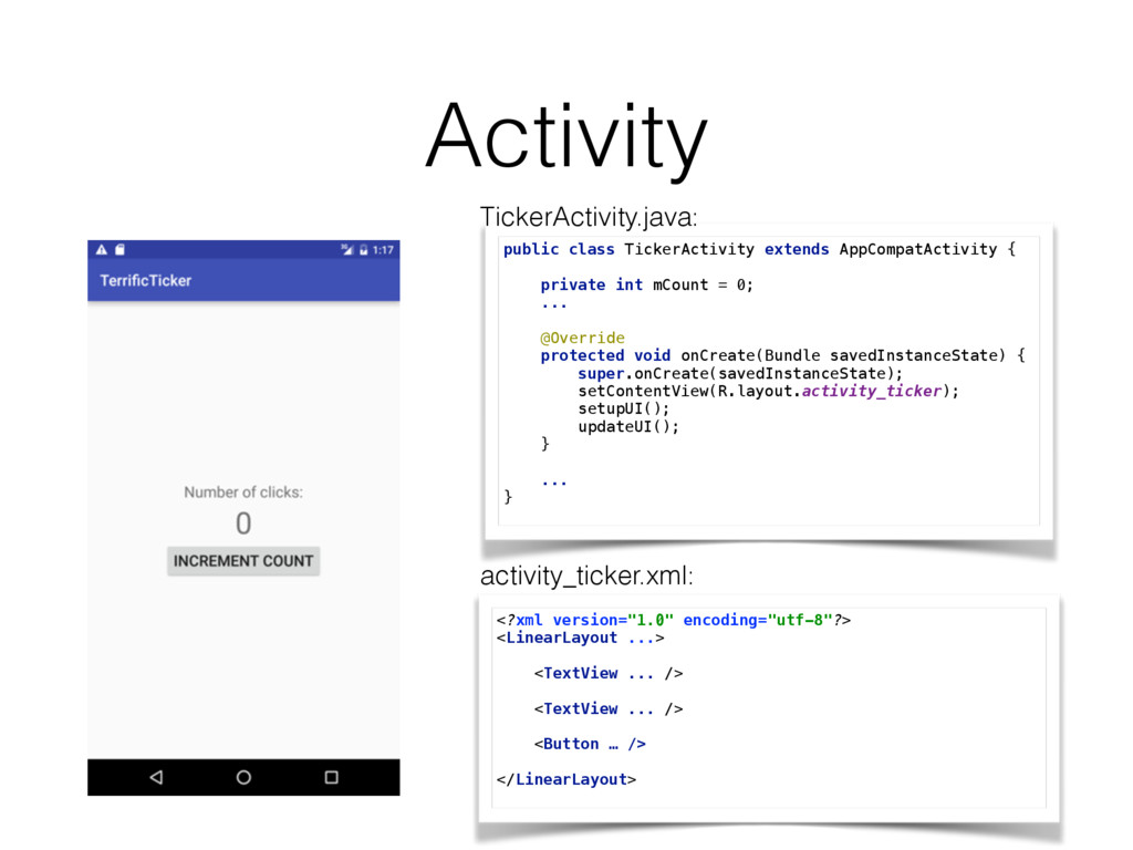 Activity public class TickerActivity extends Ap...
