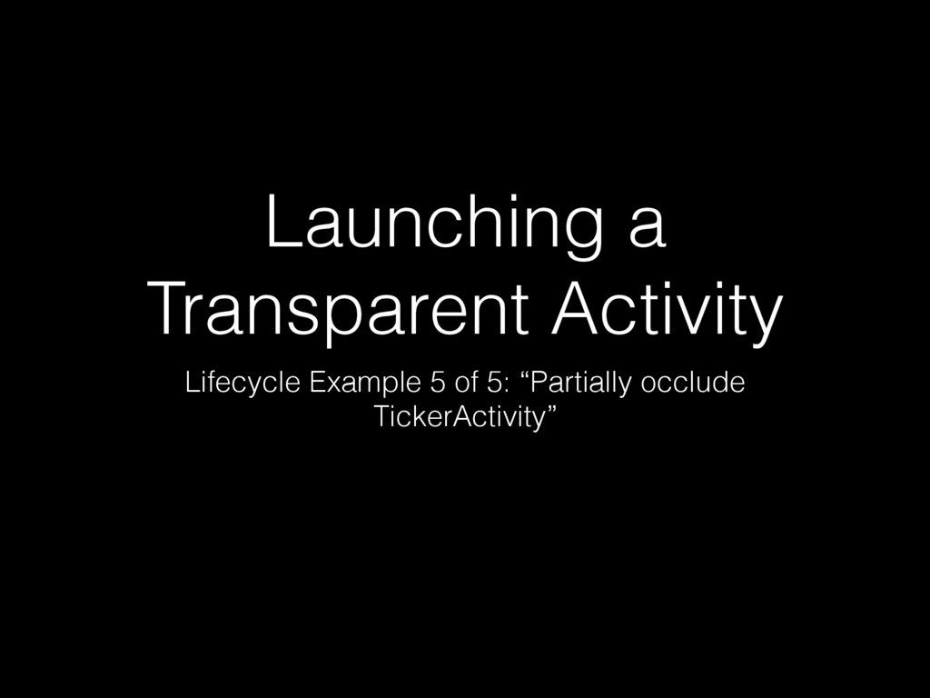 Launching a Transparent Activity Lifecycle Exam...