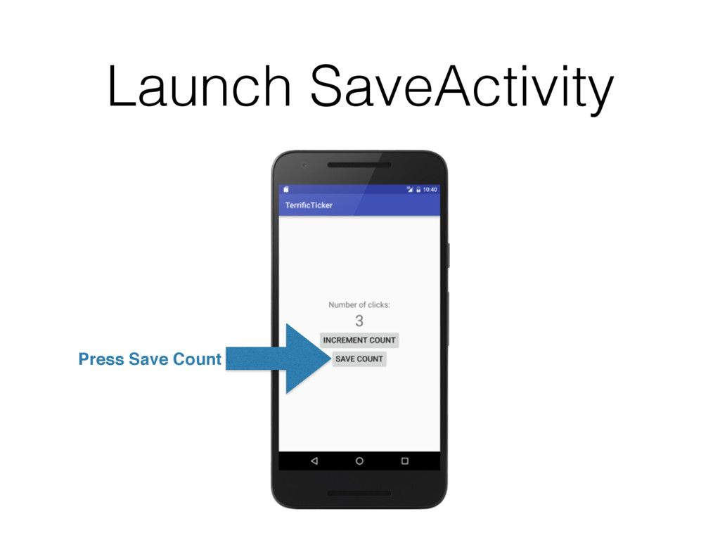 Launch SaveActivity Press Save Count