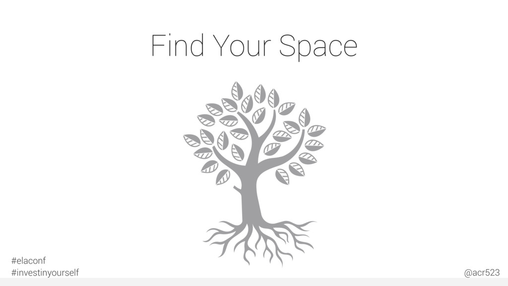 Find Your Space #elaconf #investinyourself @acr...
