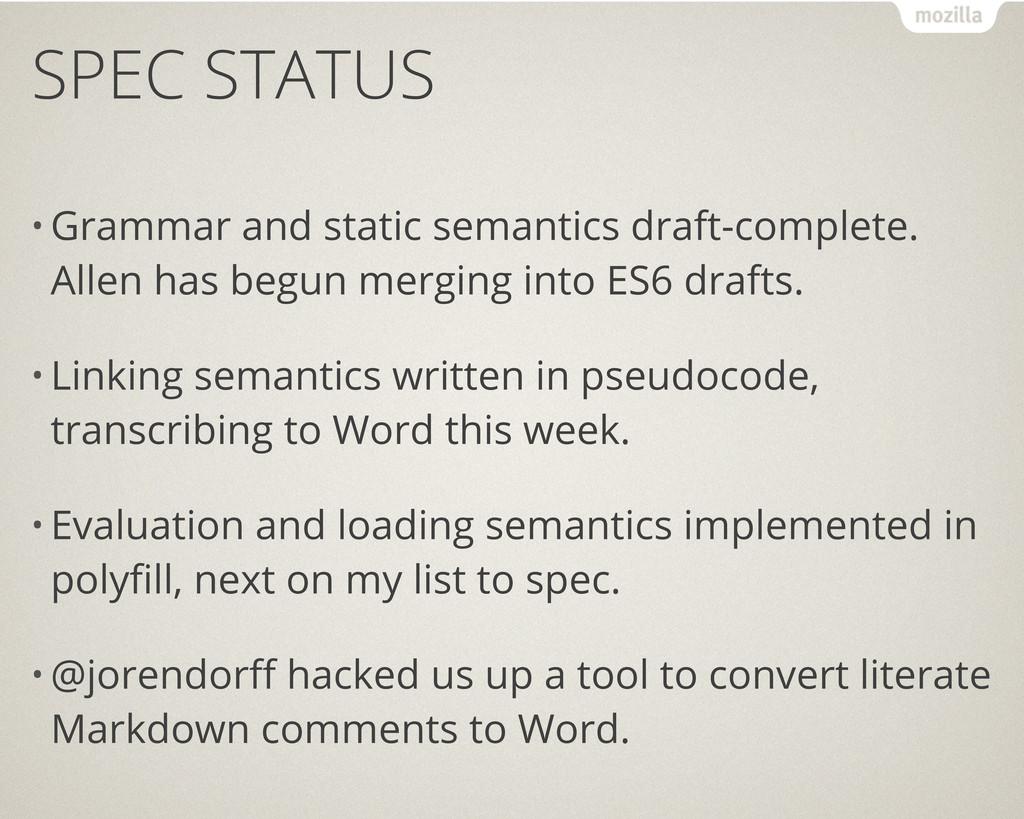 SPEC STATUS • Grammar and static semantics draf...