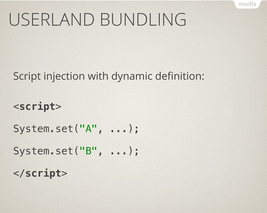 USERLAND BUNDLING Script injection with dynamic...