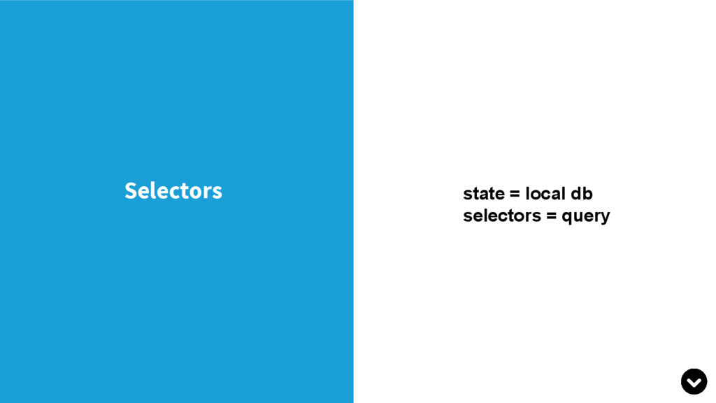 Selectors state = local db selectors = query