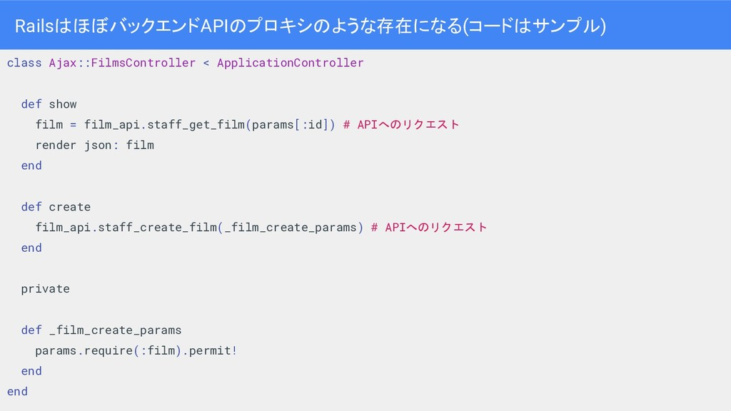 Rails ほぼバックエンドAPI プロキシ ような存在になる(コード サンプル) 29 cl...