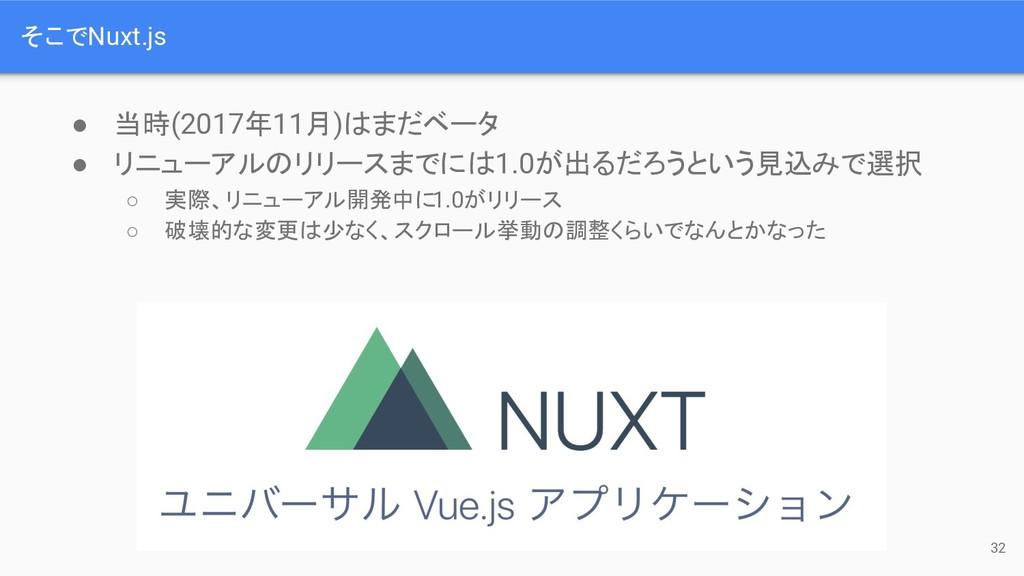 そこでNuxt.js 32 ● 当時(2017年11月) まだベータ ● リニューアル リリー...