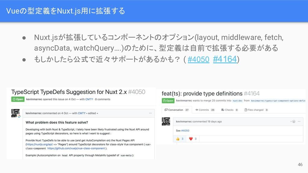 Vue 型定義をNuxt.js用に拡張する 46 ● Nuxt.jsが拡張しているコンポーネン...