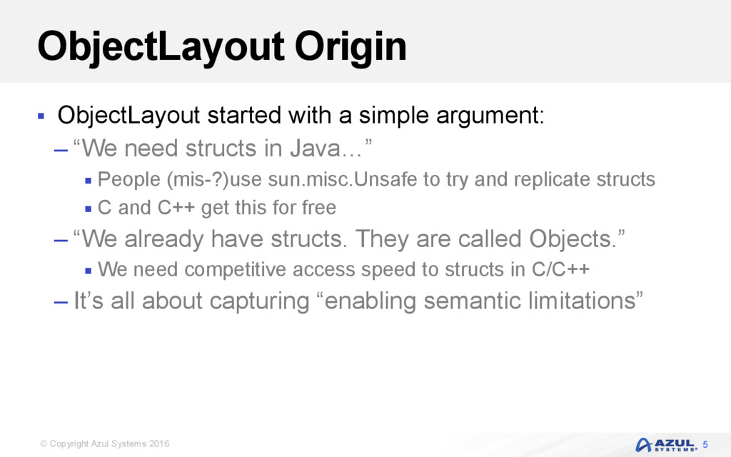 © Copyright Azul Systems 2016 ObjectLayout Orig...
