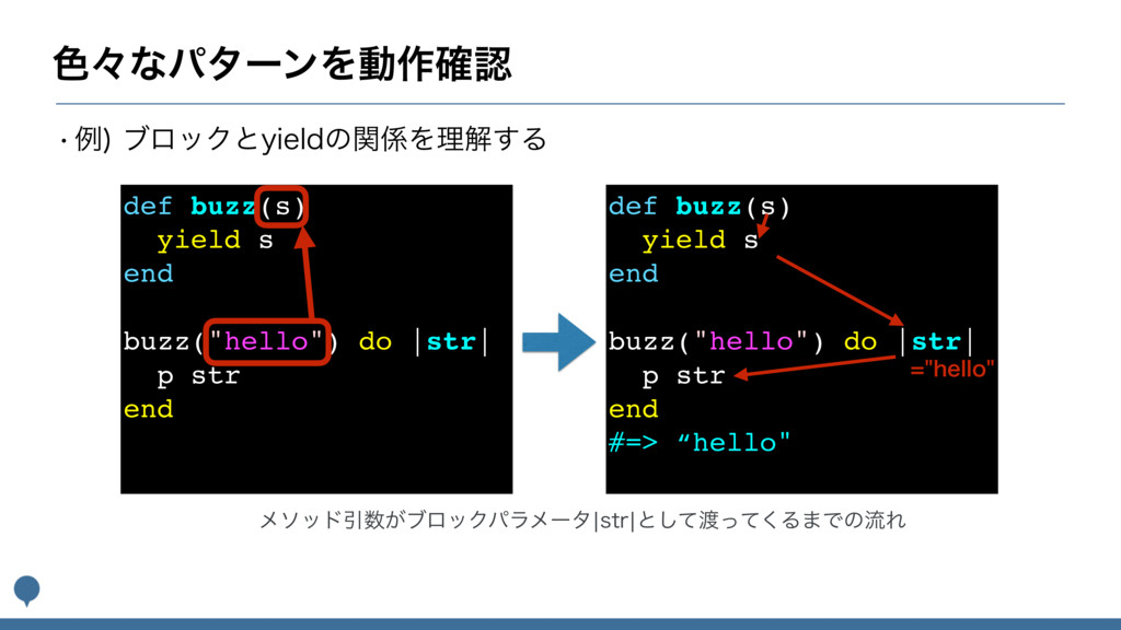 """৭ʑͳύλʔϯΛಈ࡞֬ def buzz(s) yield s end buzz(""""hell..."""