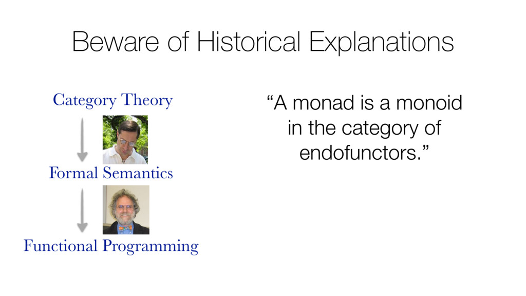 "Beware of Historical Explanations ""A monad is a..."