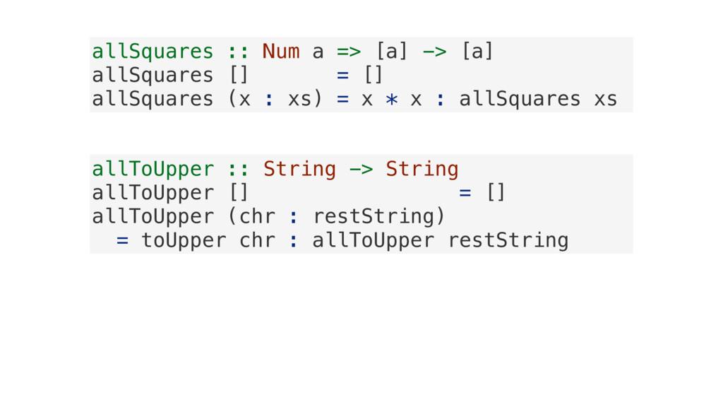 allSquares :: Num a => [a] -> [a] allSquares []...