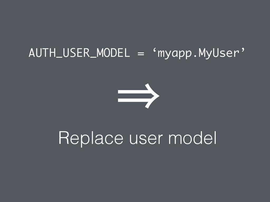 AUTH_USER_MODEL = 'myapp.MyUser' Replace user m...