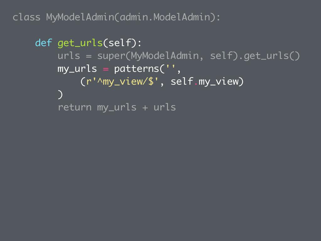 class MyModelAdmin(admin.ModelAdmin): def get_u...