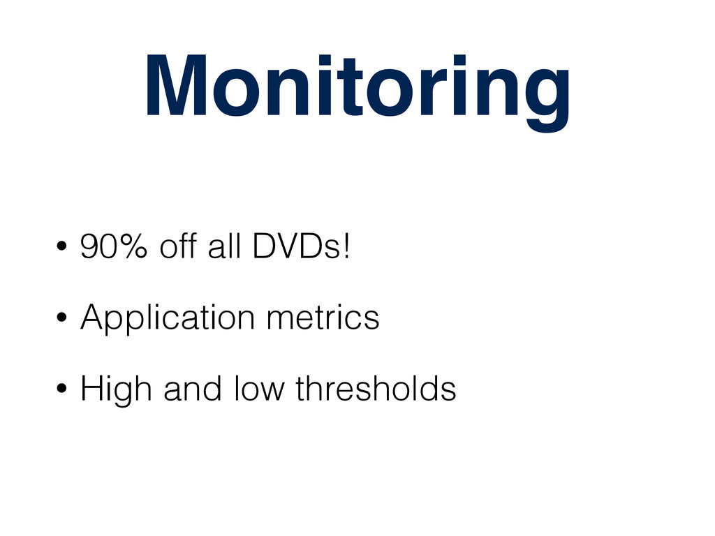 Monitoring • 90% off all DVDs! • Application me...