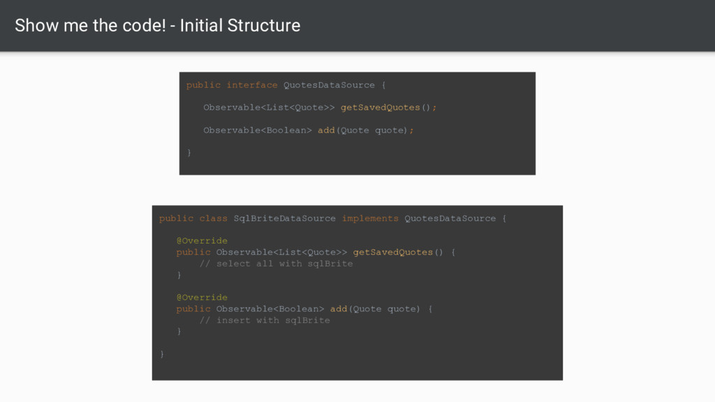 Show me the code! - Initial Structure public in...