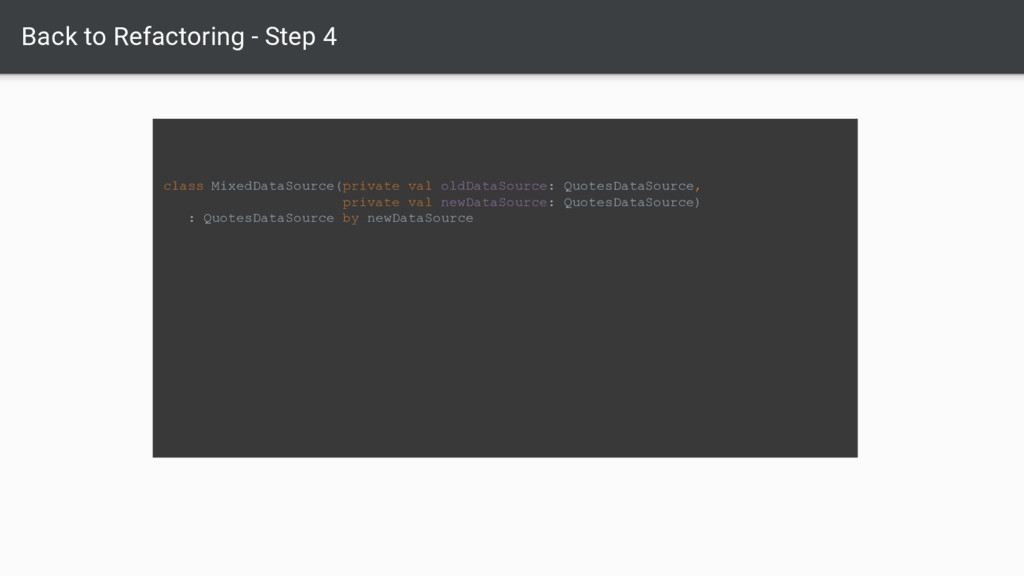 Back to Refactoring - Step 4 class MixedDataSou...