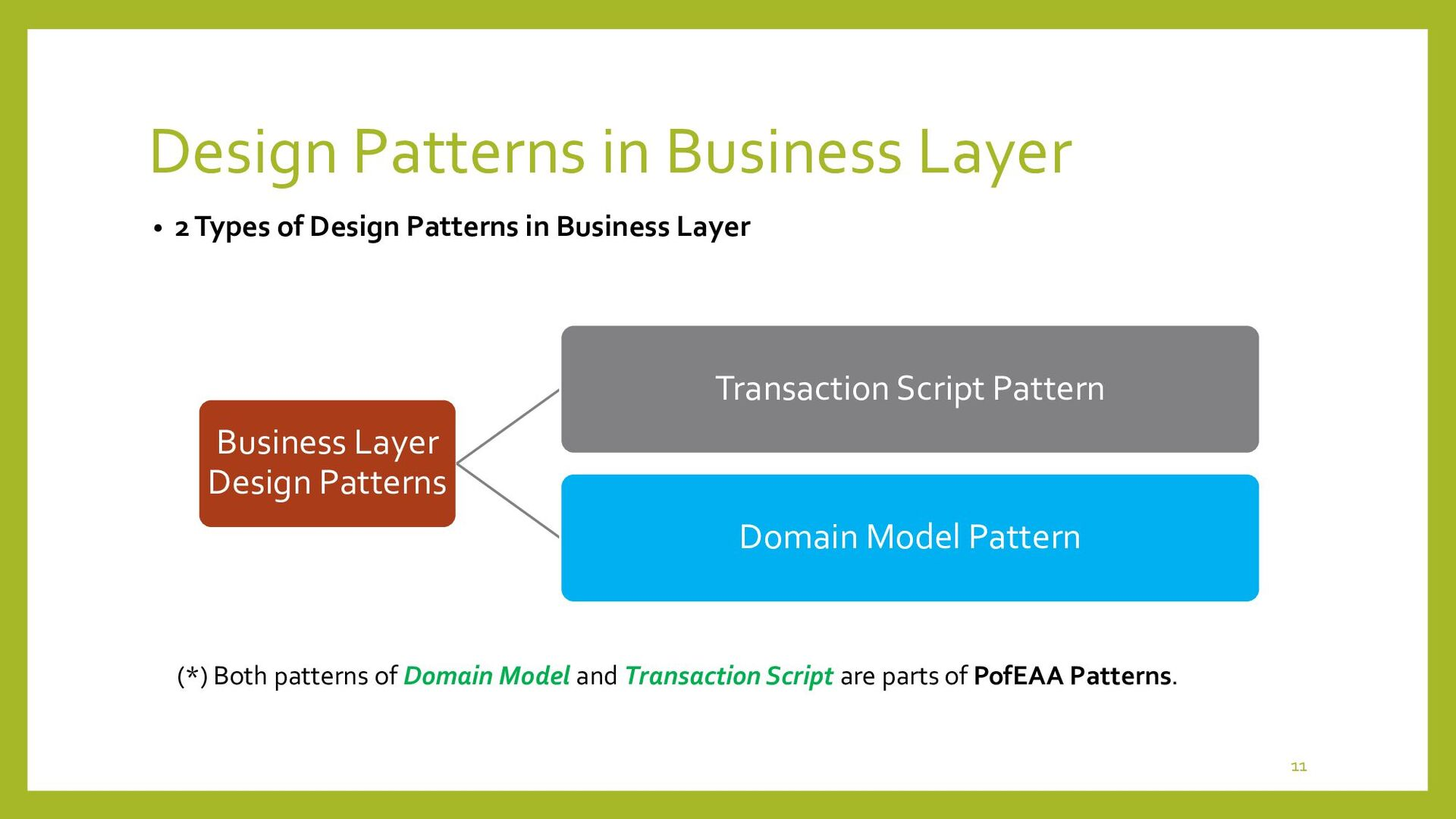 Design Patterns in Business Layer • Transaction...