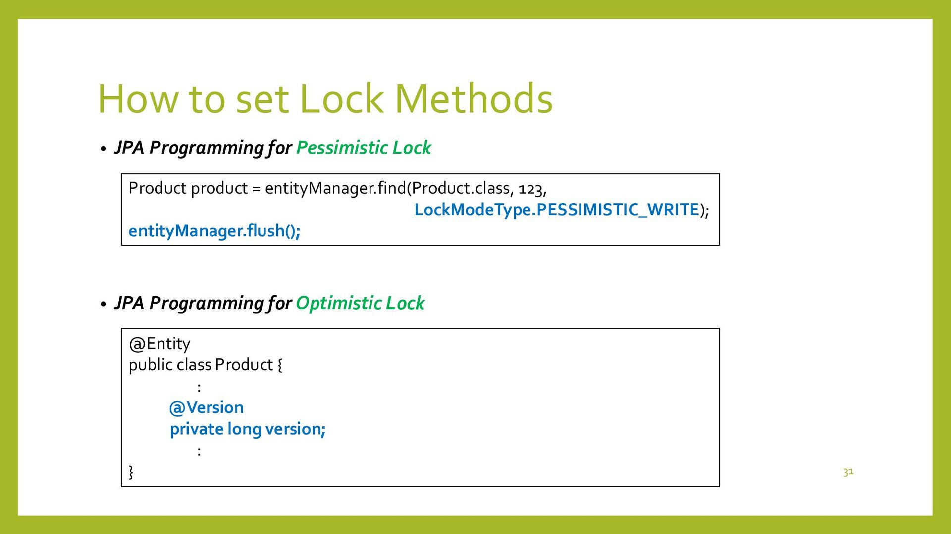 Long Transaction and Optimistic Lock • Demo – L...