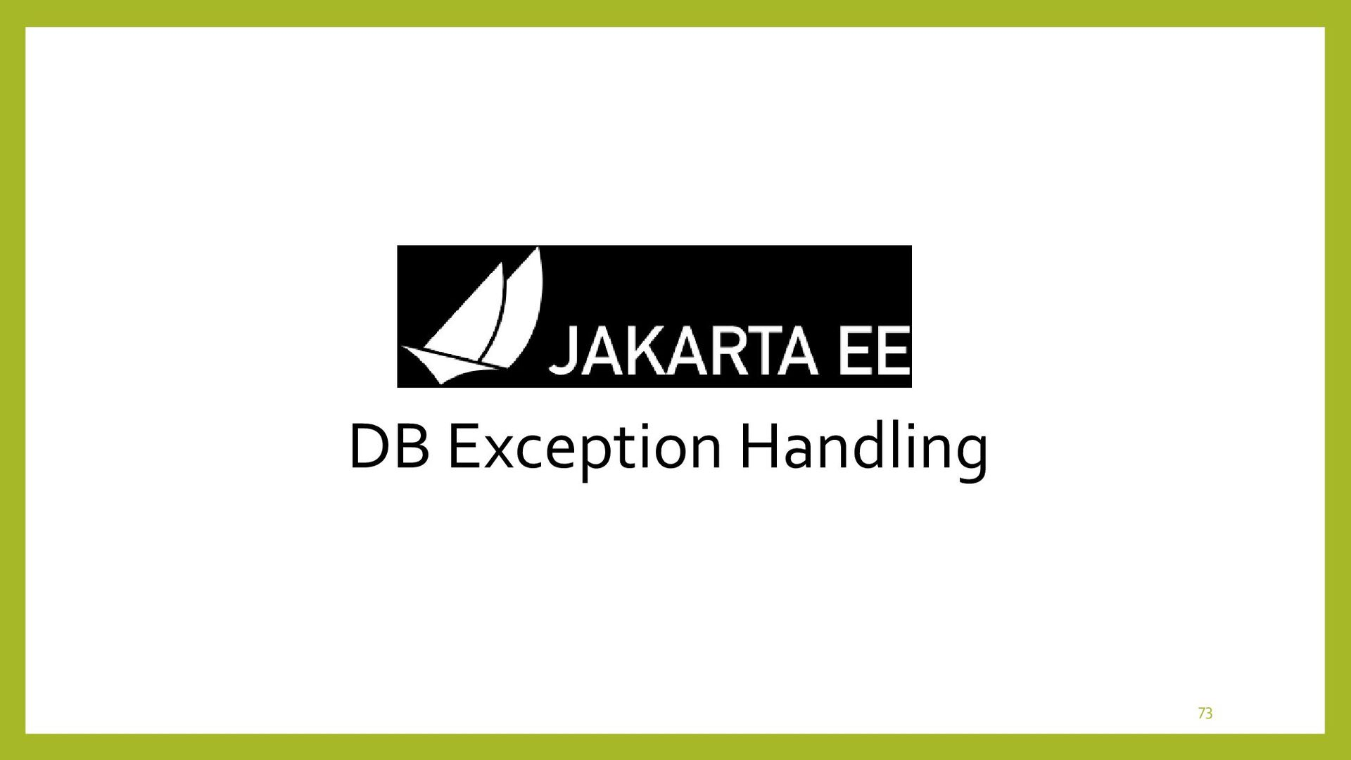 DB Exception Handling • Sequence Model for Exce...