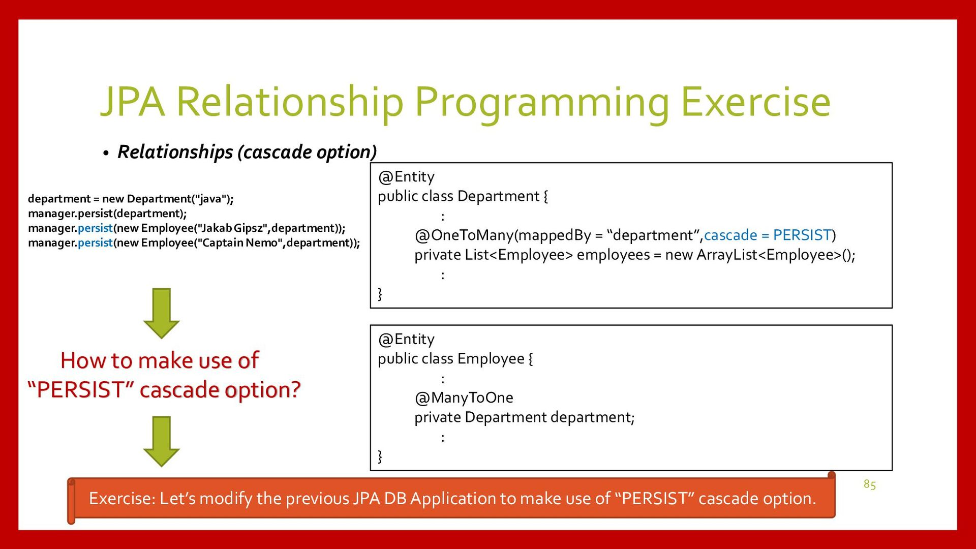 JPA Relationship Programming Exercise • Project...