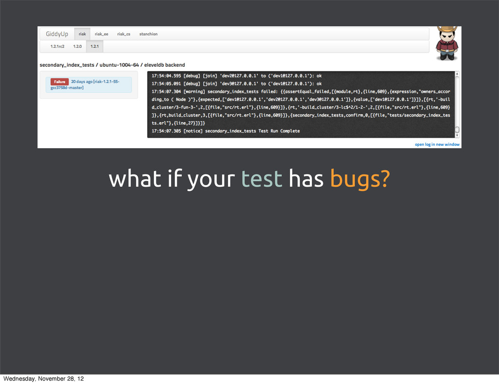 what if your test has bugs? Wednesday, November...