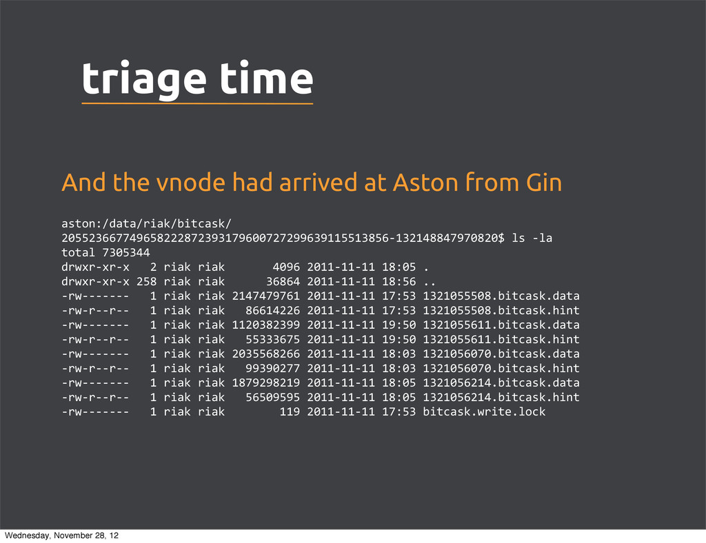 triage time And the vnode had arrived at Aston ...