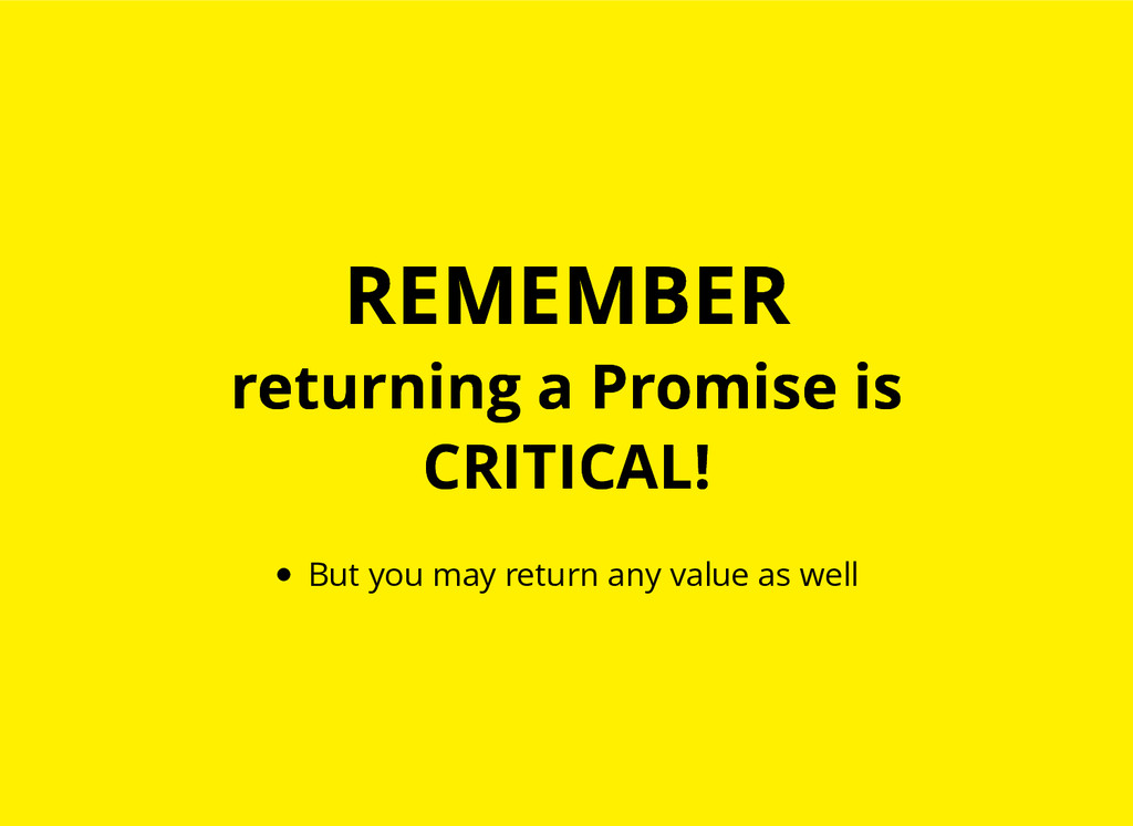 REMEMBER REMEMBER returning a Promise is return...