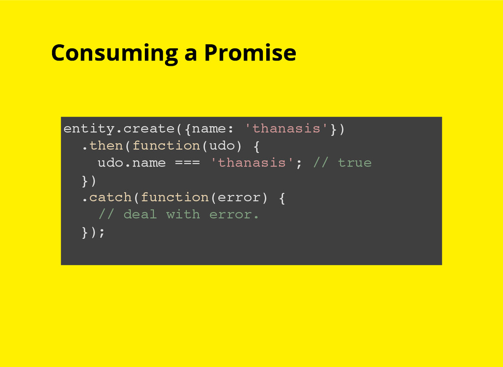 Consuming a Promise Consuming a Promise entity....