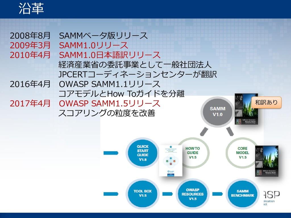 2008年8月 SAMMベータ版リリース 2009年3月 SAMM1.0リリース 2010年4...