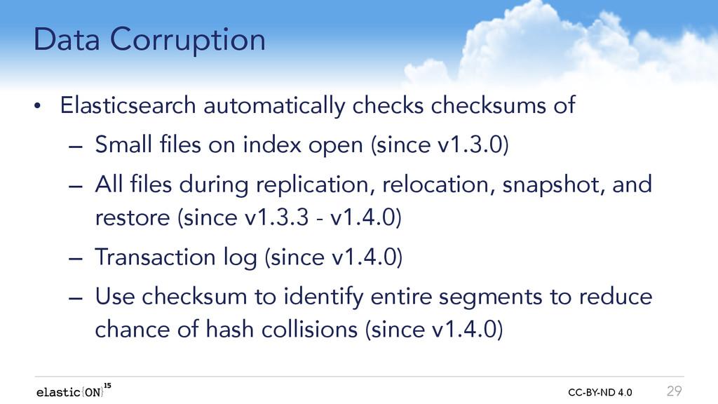 { } CC-BY-ND 4.0 Data Corruption • Elasticsearc...