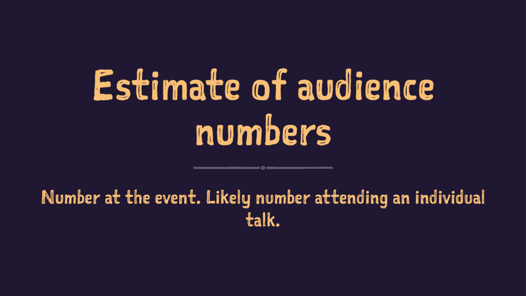 Estimate of audience numbers Number at the even...