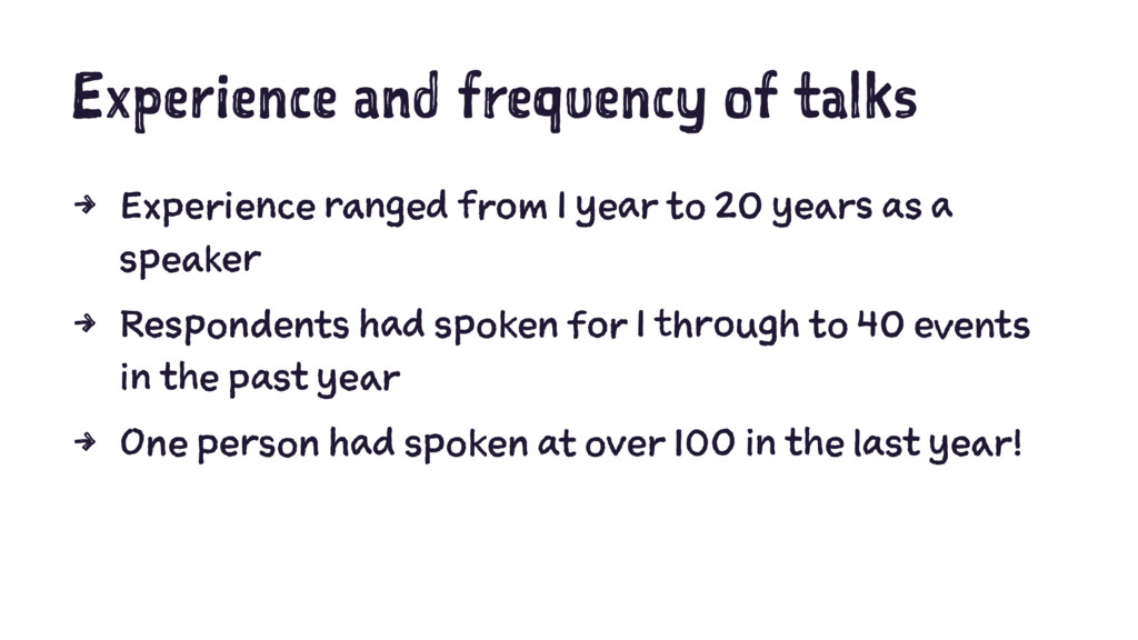Experience and frequency of talks 4 Experience ...